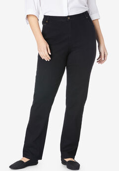 Straight Leg Stretch Jean, BLACK DENIM