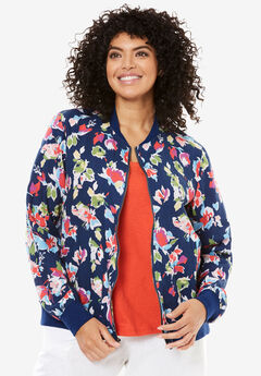 Linen Bomber jacket, ROYAL NAVY GRAPHIC FLORAL, hi-res