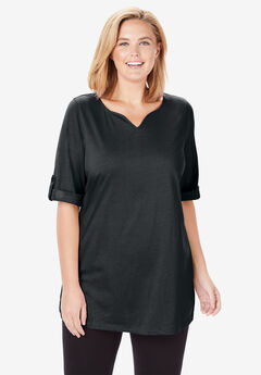 Perfect Notch Neck Tunic with Rolled Sleeves, BLACK, hi-res