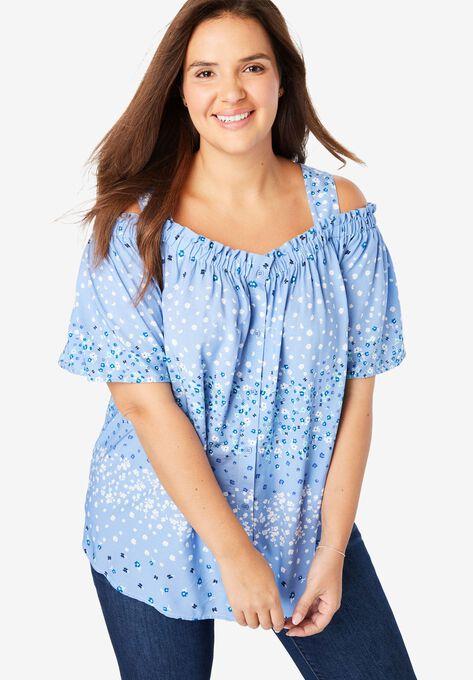 da3bbbfa953 Printed Cold-Shoulder Blouse| Plus Size Shirts & Blouses | Woman Within