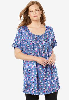 Short-Sleeve Pintucked Henley Tunic,
