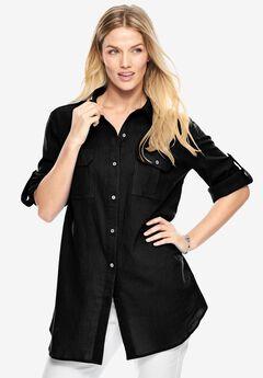 Cotton gauze shirt, BLACK, hi-res