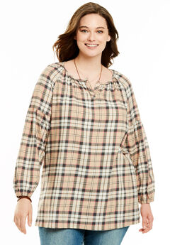 Split Neck Flannel Blouse, TEA ROSE PLAID