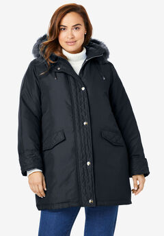 Down-Blend Microfiber Parka, BLACK, hi-res