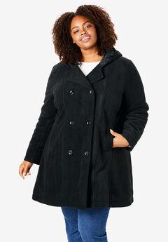 Hooded fleece pea coat, BLACK, hi-res