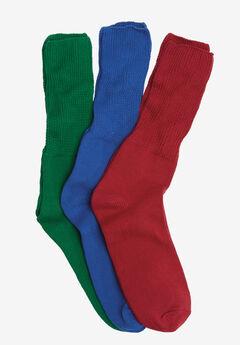 3-Pack Cotton Crew Socks by Comfort Choice®, MIXED EMERALD PACK