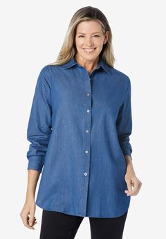 classic long-sleeve denim shirt,