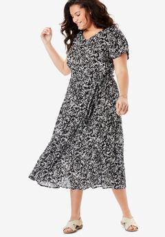 Tiered Belted Crinkle Dress, BLACK WOODBLOCK LEAVES