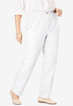 Elastic-Waist Cotton Straight Leg Pant, WHITE