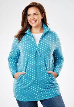 Cozy zip-front jacket in anti-pilling fleece, TURQUOISE WHITE DOT, hi-res