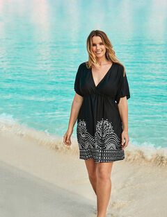 Foil-Print Swim Cover Up ,