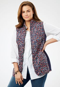 Diamond-Quilted Zip Front Vest, NAVY MINI FLORAL