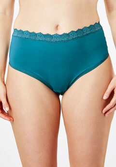 Lace-Trim Cheeky Hipster by Comfort Choice®, DEEP LAGOON, hi-res