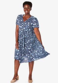 Short, button-front crinkle dress,