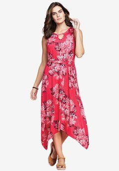 Keyhole Dress by Chelsea Studio®, RASPBERRY FLORAL, hi-res