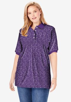 Elbow-Sleeve Polo Shirt, RADIANT PURPLE ALL OVER DITSY