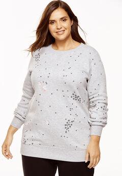 Fleece Sweatshirt, HEATHER GREY STARBURST