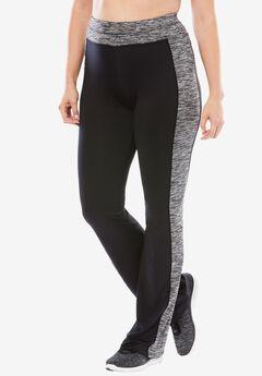 Yoga bootcut pants by FullBeauty SPORT®, BLACK BLACK WHITE SPACE DYE