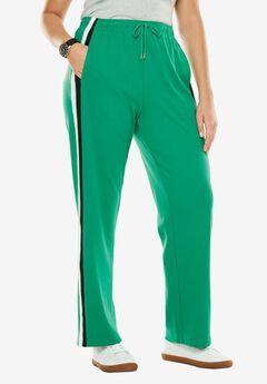 Side-Stripe Sport Knit Pants, KELLY GREEN BLACK WHITE, hi-res