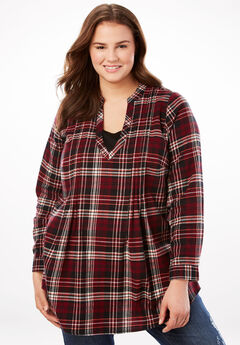 Pleat Front Notch Neck Plaid Flannel Tunic, BURGUNDY PLAID