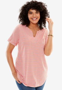 Notch V-neck tee, CORAL RED STRIPE, hi-res