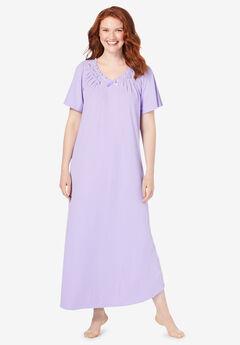 Rib Knit Long Nightgown,