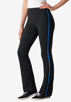 Stretch Cotton Side-Stripe Bootcut Pant, BLACK BRIGHT COBALT