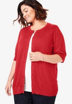 Perfect Elbow-Length Sleeve Cardigan, VIVID RED