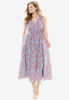 Empire Waist Floral Maxi, BLUEBERRY CREAM PLAYFUL FLORAL, hi-res