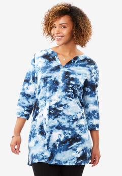 Tie-dye knit tunic top, COBALT BLUE TIE DYE, hi-res