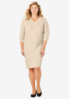 Cabled V-Neck Sweaterdress, OATMEAL