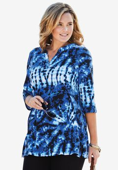 Tie-dye knit tunic top,