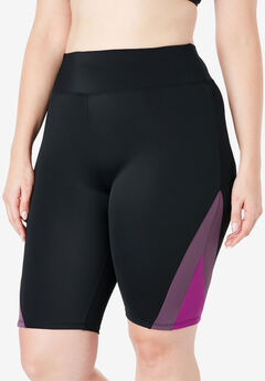 Colorblock Swim Shorts with Sun Protection, BLACK EGGPLANT FUCHSIA