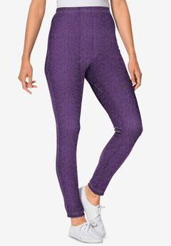 Stretch Cotton Printed Legging, RADIANT PURPLE SCATTERED DOT