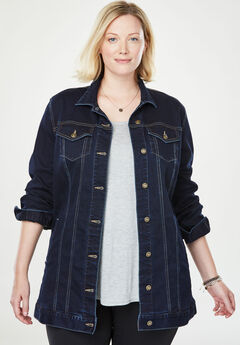 Long Stretch Denim Jacket,