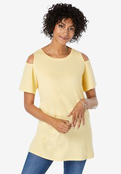 Short-Sleeve Cold-Shoulder Tee,