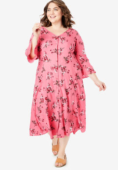 Button Front Ruffle Sleeve V-Neck Dress,