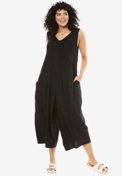 Sleeveless pintuck palazzo jumpsuit, BLACK, hi-res