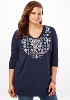 Floral Embroidered V-Neck Tunic, DEEP BLUE MIX EMBROIDERY, hi-res