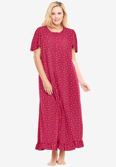 Long Floral Print Cotton Gown , STRAWBERRY DITSY