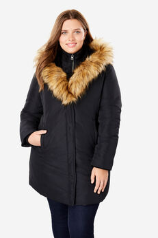 Fur-Lined Hooded Faux Down Coat, BLACK