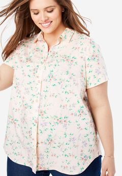 Perfect Short Sleeve Button Down Shirt, PINK PRETTY FLORAL