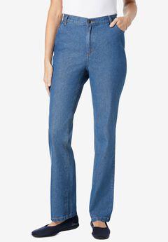 Side-Elastic Straight Leg Cotton Jean, MEDIUM STONEWASH