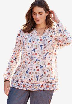 Mixed-Print Shirt, IVORY DANCING FLORAL, hi-res