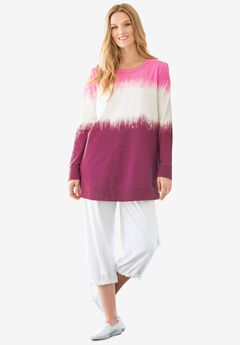 Tie-dyed knit sweatshirt tunic, RASPBERRY IKAT TIE DYE