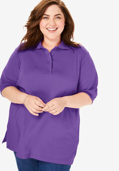 Short-Sleeve Tunic Polo Shirt, PLUM BURST