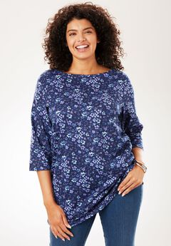 Boatneck Perfect Tee, NAVY FLORAL