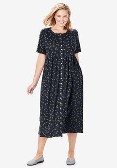 Dot Button-Front Essential Dress,