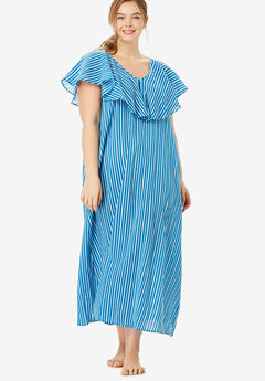 Ruffle Neck Lounger by Dreams & Co.®, RIVER BLUE STRIPE