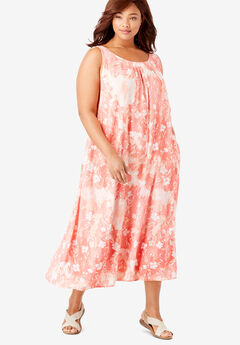 A-Line Sleeveless Crinkle Dress, VIBRANT CORAL DELICATE FLORAL